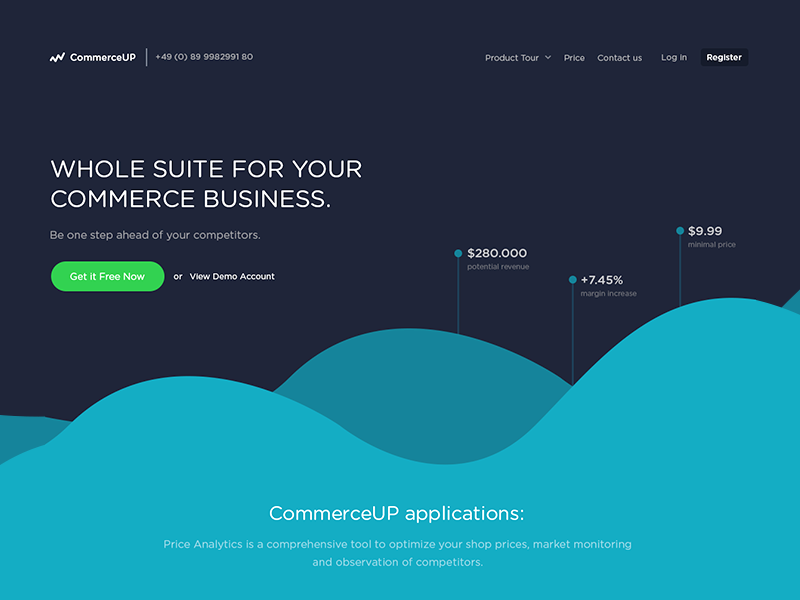 Commerce Analytics Homepage - WIP homepage website ux ui analytics dashboard app tool commerce business landing page flat
