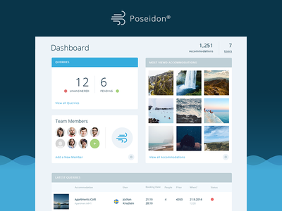 Poseidon UI ui ux user interface web app app dashboard team travel accommodation management