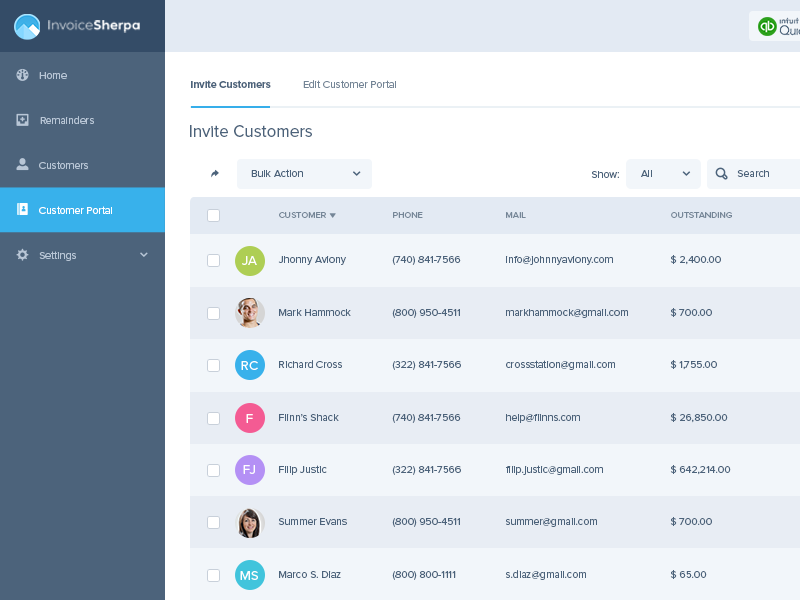 Invoice Sherpa - Invite Customers UI ui ux interface dashboard table customers invoices invoice sherpa web app flat clean user interface