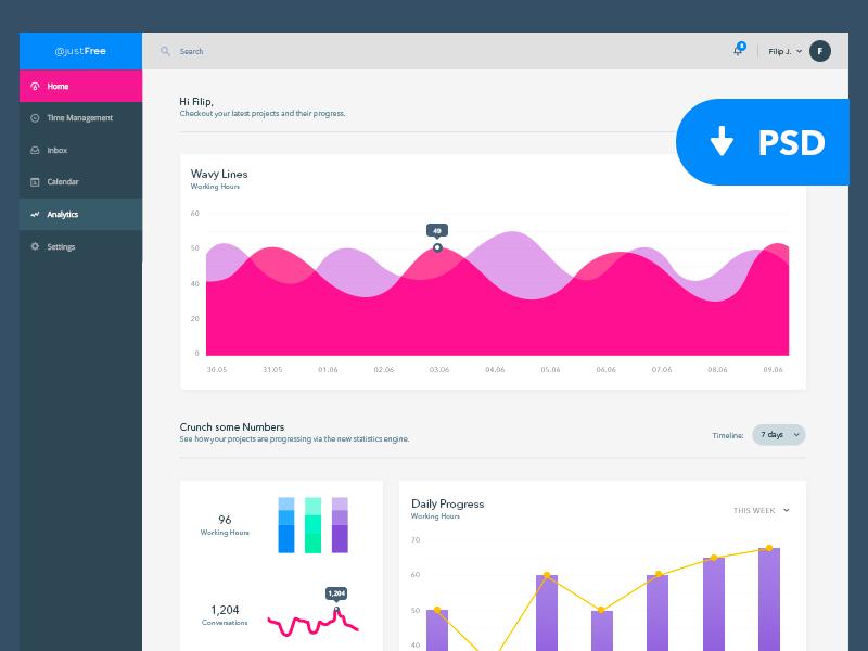 Analytics Dashboard UI KIT - Freebie psd freebie ui ux analytics dashboard charts kit interface flat