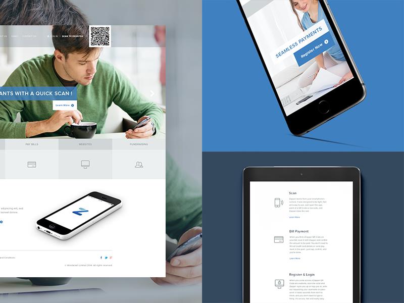 Case Study - Zapper ux ui case study landing page qr web design flat clean presentation icons