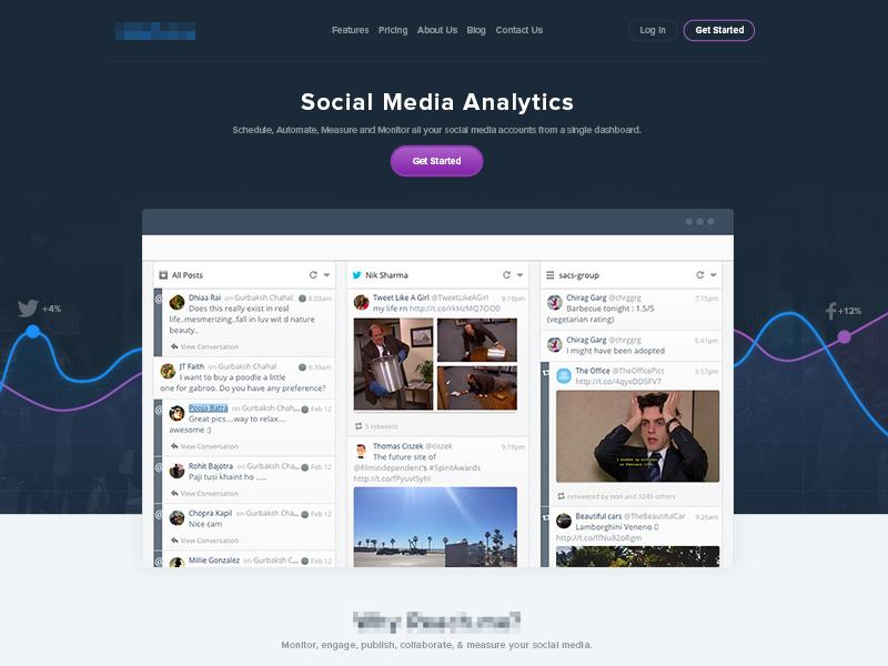 Social Media Analytics Landing Page landing page homepage website web design analytics ui ux social media dashboard chart flat