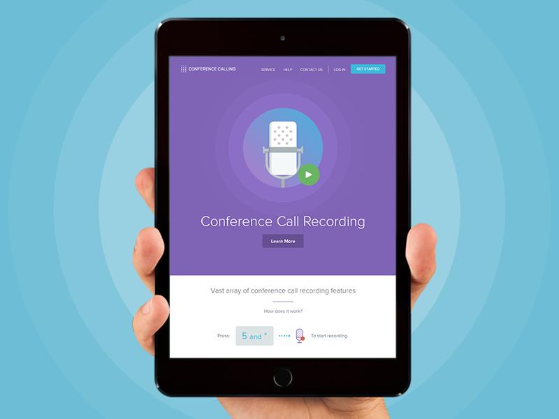 Conference Calling - Recording ui ux responsive website web design tablet mobile mobile ui balkan brothers flat clean