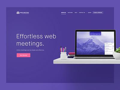 WebMeeting Lander (WIP) responsive flat clean ux design user experience web design ui ux landing page