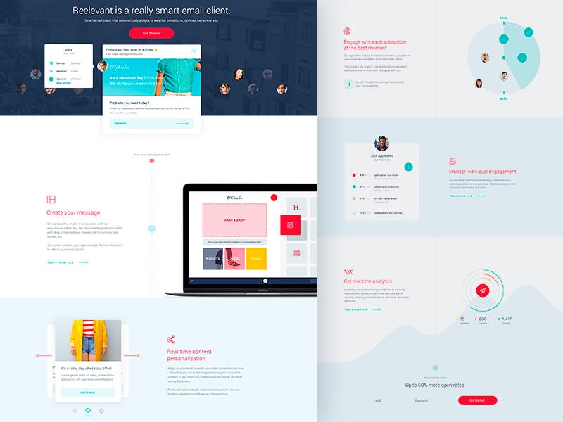 Reelevant Homepage minimal clean flat website landing page homepage design web ux