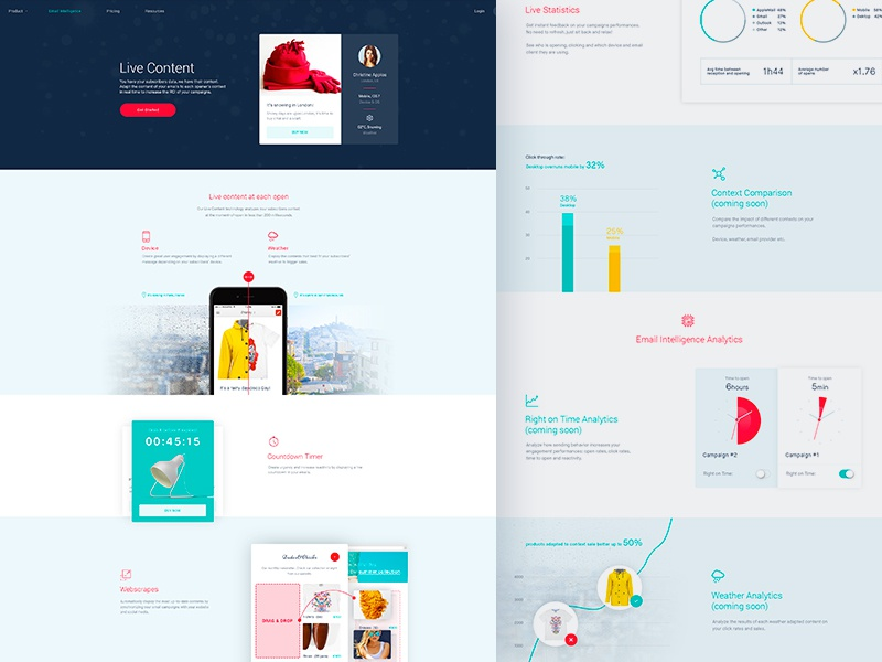 Reelevant Inner Pages flat minimal clean website landing lander design web ux ui