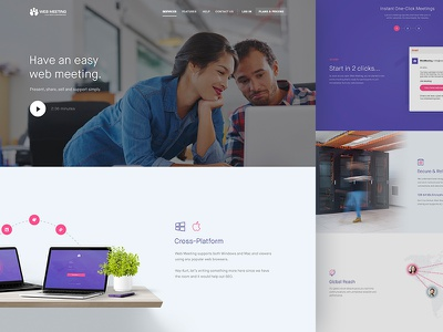 Services - WebMeeting features page landing minimal clean flat design web ux ui