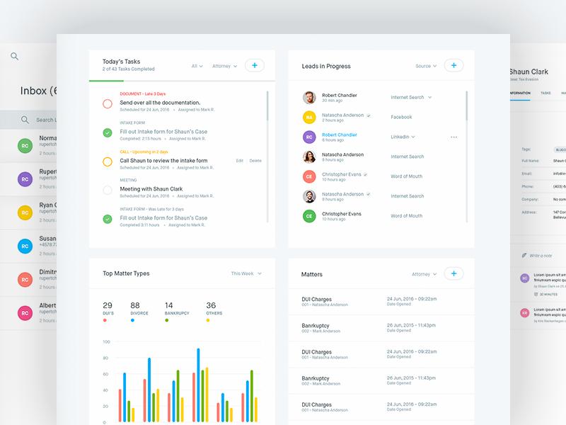CRM Dashboard ( Home, Inbox, Profile) clean app design web data charts tasks crm interface ux ui dashboard