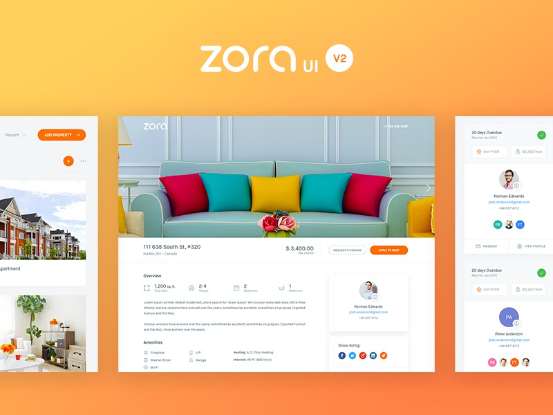 Zora UI v2 design balkan brothers shadows minimal flat web clean interface app dashboard ux ui