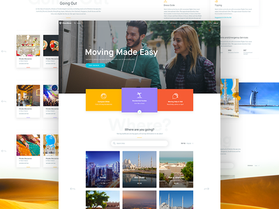 Clearmove - Homepage responsive moving travel page home website clean design web ux ui