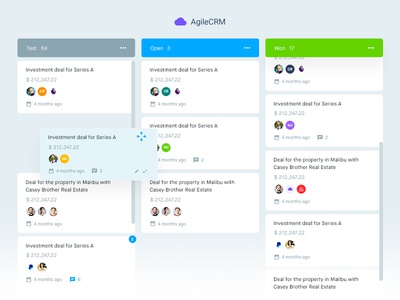 Agile CRM - Deals charts agilecrm leads pipeline deals trello tables dashboard user experience user interface ux ui