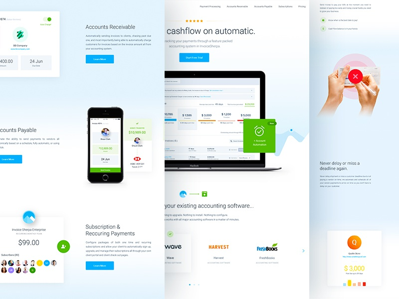 InvoiceSherpa - Homepage Redesign balkanbrothers homepage clean invoice user experience design website web design ux