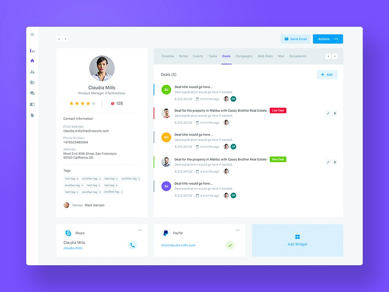 Agile Crm - Customer Profile By Balkan Brothers - Dribbble