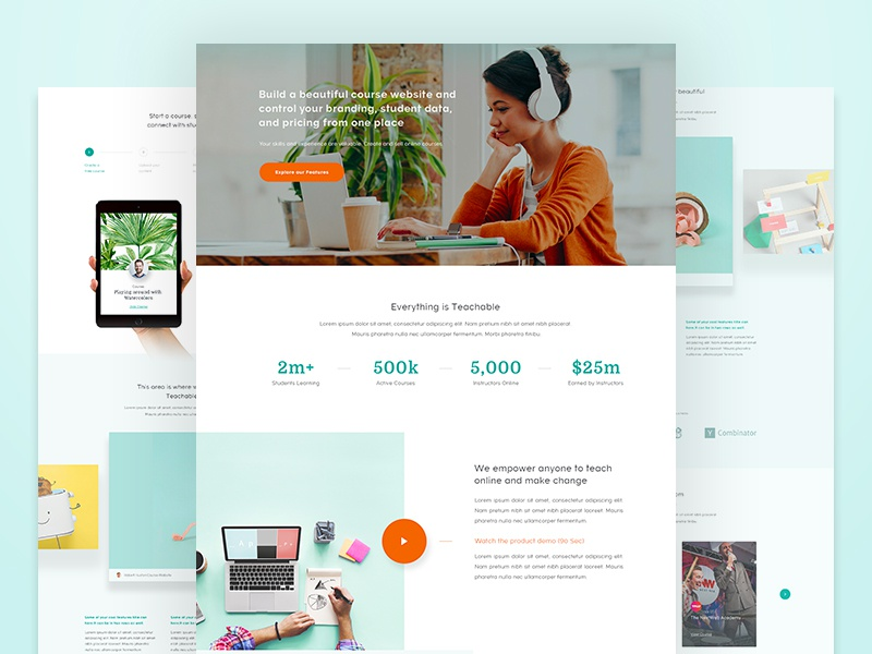 Teachable - Homepage (New) teachable home clean learning website web user experience design ux