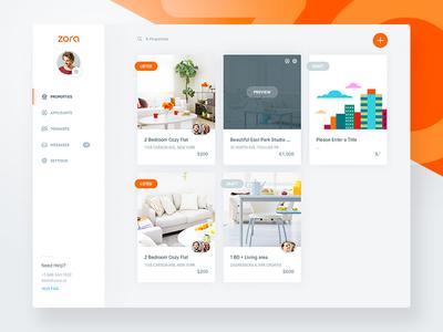 Zora Dash - Properties (WIPs) rent experience user design web app flat clean dashboard interface ux ui
