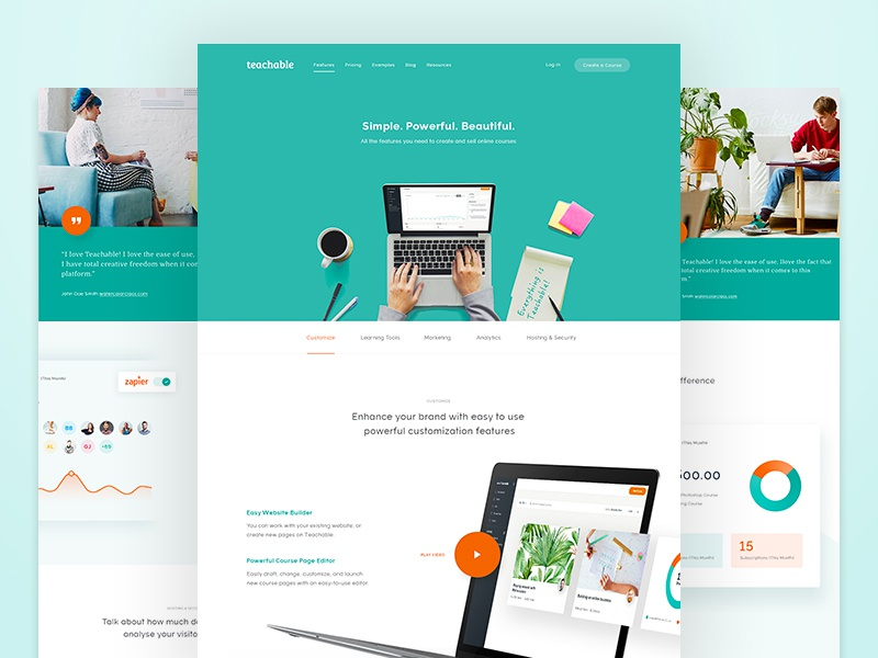 Teachable - Features features ux design user experience web website learning clean home teachable