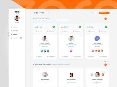 Zora Dash - Tenants (All Versions) clean user cards app web design interface dashboard ux ui