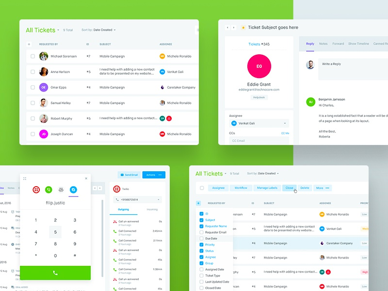 CRM - Tickets & Ticket Info clean crm table list ux dashboard design experience interface user ui