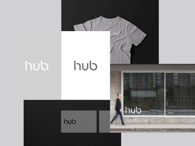 The Hub - Brand Exploration 01 art direction visual language design system color scheme typograhy mockups tshirt business cards stationery identity mark icon logo design brand branding