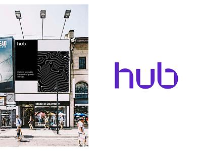The Hub - Brand Exploration 02b concept stationery billboard poster mockup visual language design system color scheme typography word mark logo web design identity branding brand