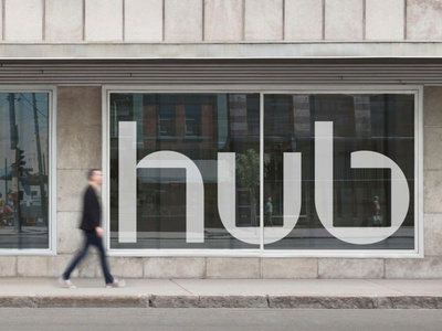 The Hub - Brand Exploration 02 strategy marketing typography art direction design system mark sign mockup stationery store logo branding brand identity style guide visual language icon startup