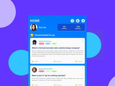 Ask & Answer App Concept social media app design uiux android