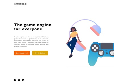 Game Engine Landing Page minimalist landin page engine game xbox playstation
