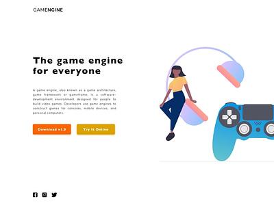 Game Engine Landing Page minimalist landin page engine game xbox playstation