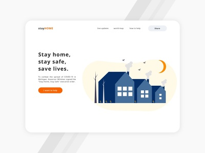 Stay Home, stay safe, save lives landing page concept coronavirus home minimal uiux illustration creative landing page