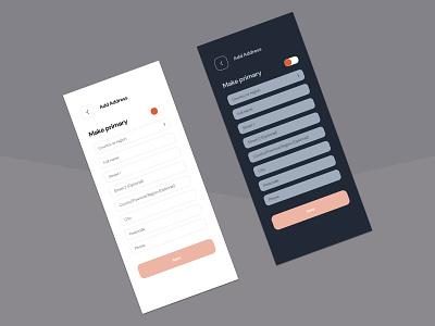 Light/Dark theme for shipping app uiux minimal clean ui address shipping light mode dark mode