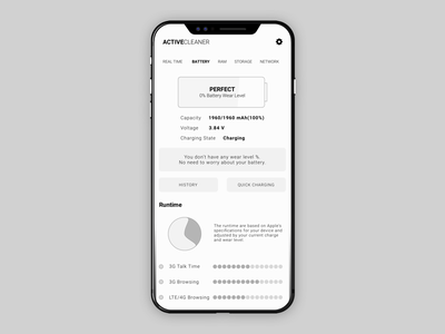 Active Cleaner Battery View wireframe tools network optimize system monitor android ios cleaner battery iphone 8