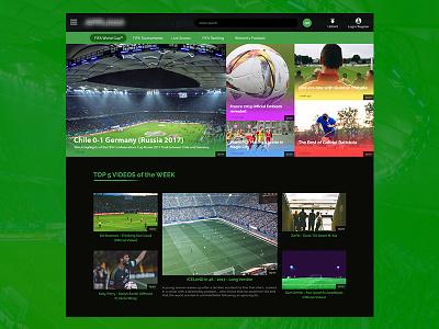 Football Web App vod video uiux photoshop design web app green black soccer football