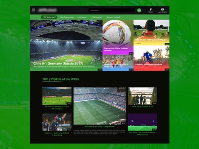 Football Web App vod video uiux photoshop design web app green black soccer football
