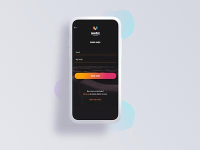 Metiz Cinema Login Screen payment cinema movie app 001 mobile app design digital agency webapp mobile illustration dailyui uxdesign login design booking