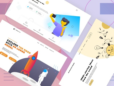 3 Landing Pages for Mobile Apps landing page design landing page ui ux black  white colorful minimalism minimal ideas start up illustration creative android uiux