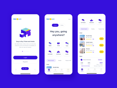Tiket.com - Exploration booking app hotel app exploration homepage onboarding screen onboarding ui daily ui android ios clear ui