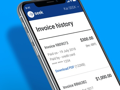 Invoice History page on mobile
