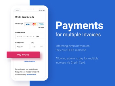 Payments for multiple invoices