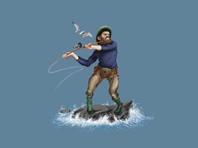 Fishing Man Digital Painting