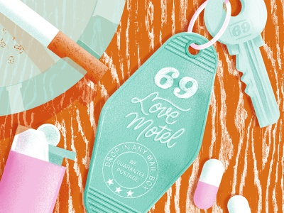Love Motel 69 kinky keychain key lettering handlettering illustration motel love