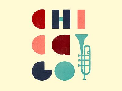 Chicago trumpet photoshop texture lettering handlettering illustration jazz windy city