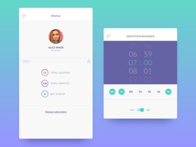 Profile profile reminder alarm clock meditation stats app ux ui