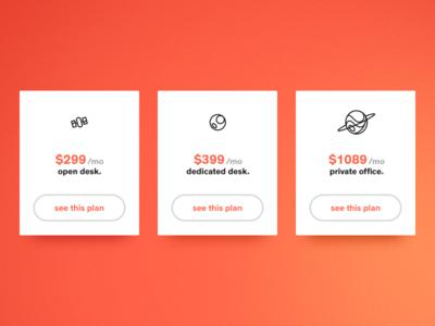Memberships ui website planet space price coworking work cards