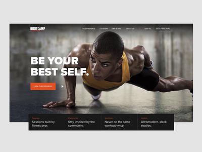 Bootcamp Hero sport parallax workout gym animation website ux ui