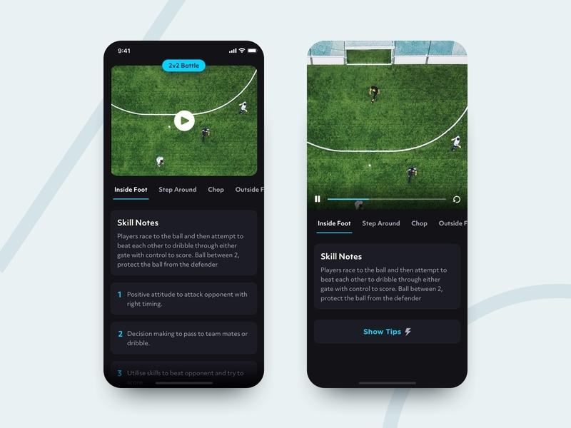 Football Drills video soccer football gif animation ux ios app ui