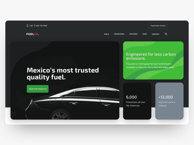 Fuel Company Hero desktop grid dark ui fuel car hero section website ui