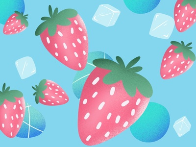 Strawberry design typography illustration