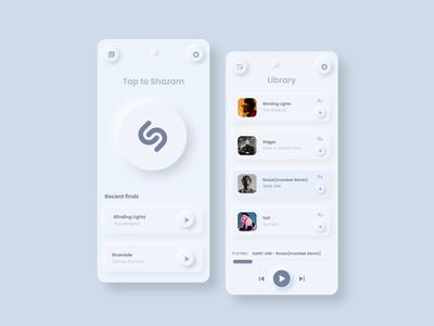 Shazam neomorphism style redesign
