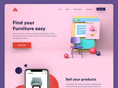 Furniture app Landing page UI typogaphy webdesign logo branding adobe xd 3d art c4d 3d app adobe vector ui design illustration mobileapp graphicdesign consept uiux