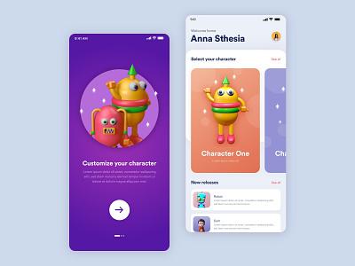 3D Character coloring mobile app for kids blender3d blender 3d art c4d 3d adobe xd adobe ux app ui design illustration mobileapp graphicdesign consept uiux